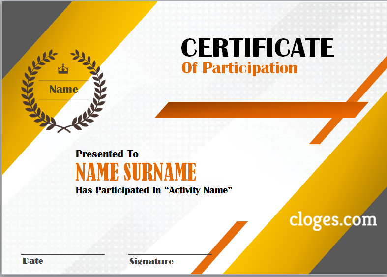 Orange Word Certificate Of Participation Template