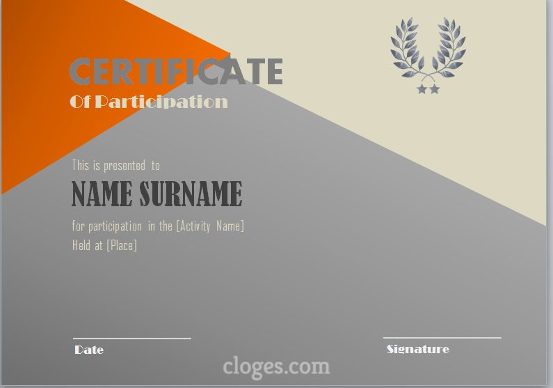 Grey Word Certificate Of Participation Template