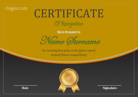 Bronze Design Certificate Of Recognition Ms.Word Template