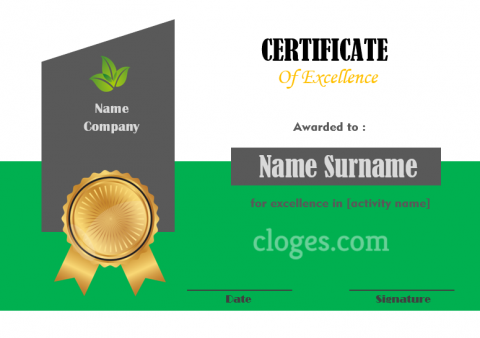 Editable Grey & Green Word Certificate Of Excellence Template
