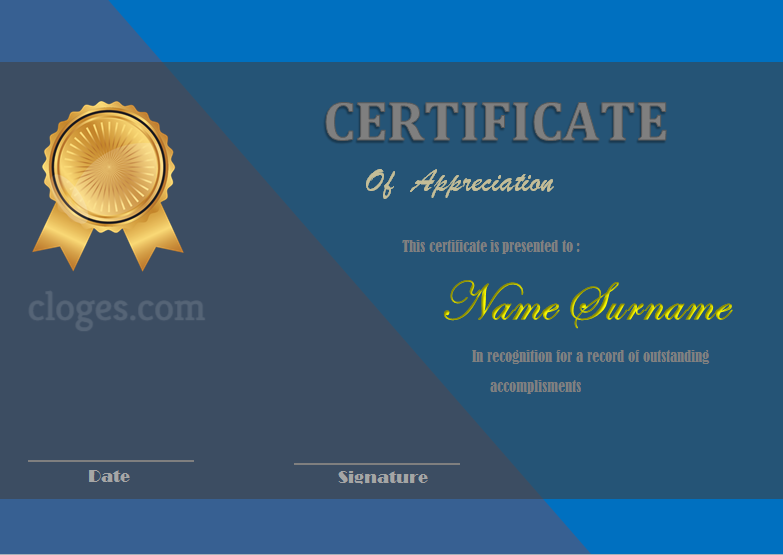 Blue Design Ms. Word Certificate Of Appreciation Template