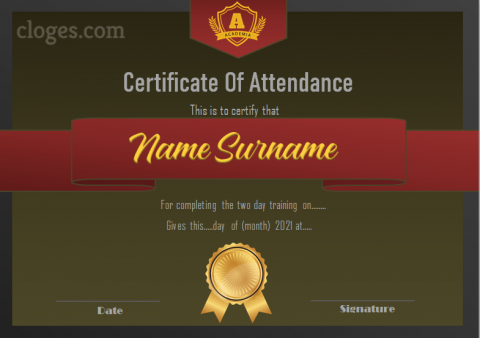 Formal Design Green Certificate Of Attendance Template Ms.Word