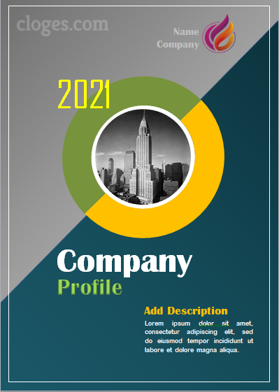 Blue & Grey Company Profile Cover Template Word